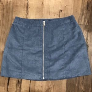Light blue suede A-Line skirt